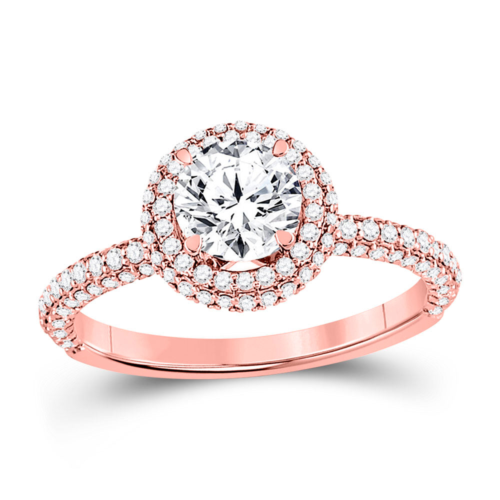 14kt Rose Gold Womens Round Diamond Solitaire Bridal Wedding Engagement Ring 1.63ct