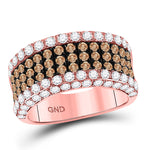 14kt Rose Gold Womens Round Brown Diamond Cocktail Anniversary Ring 2.38ct