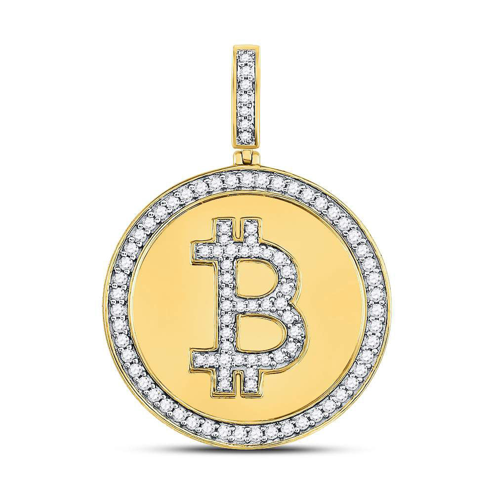 10kt Yellow Gold Mens Round Diamond Bitcoin Circle Charm Pendant .88ct
