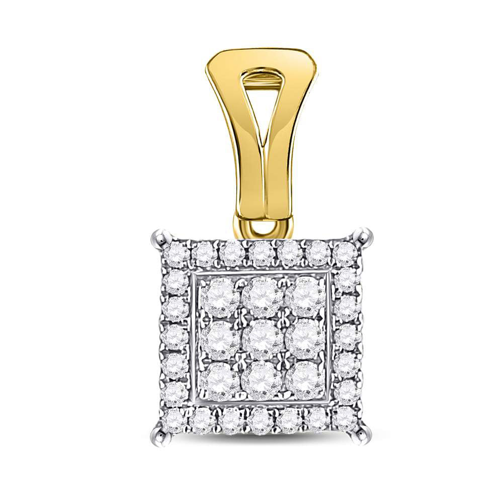 14kt Yellow Gold Womens Round Diamond Square Cluster Pendant .25ct