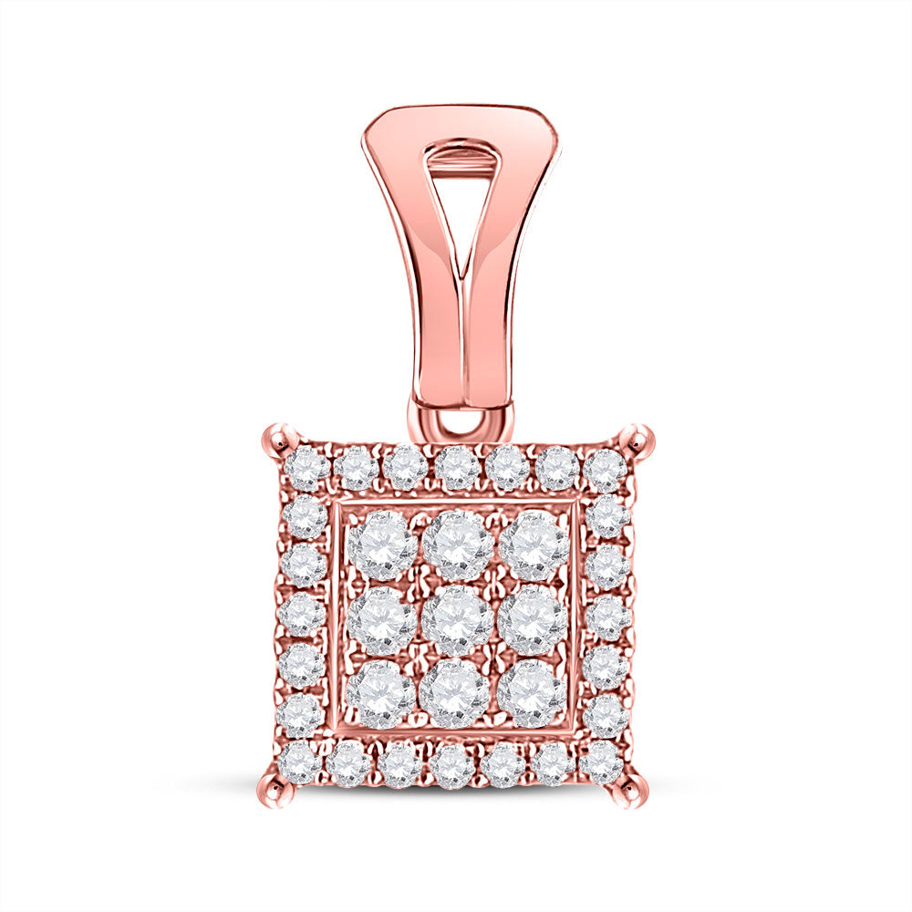 14kt Rose Gold Womens Round Diamond Square Cluster Pendant .25ct