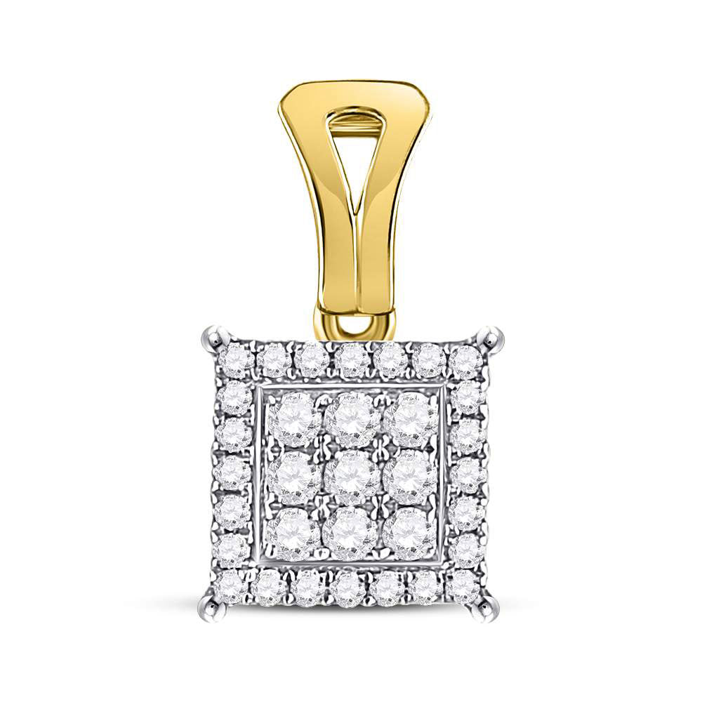 14kt Yellow Gold Womens Round Diamond Square Cluster Pendant .50ct