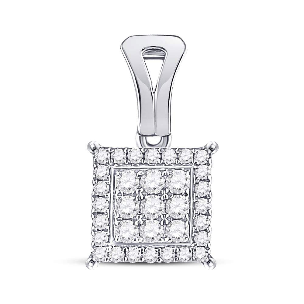 14kt White Gold Womens Round Diamond Square Cluster Pendant .50ct