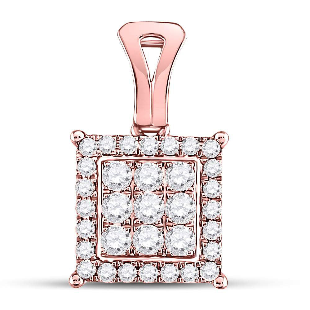 14kt Rose Gold Womens Round Diamond Square Cluster Pendant .50ct