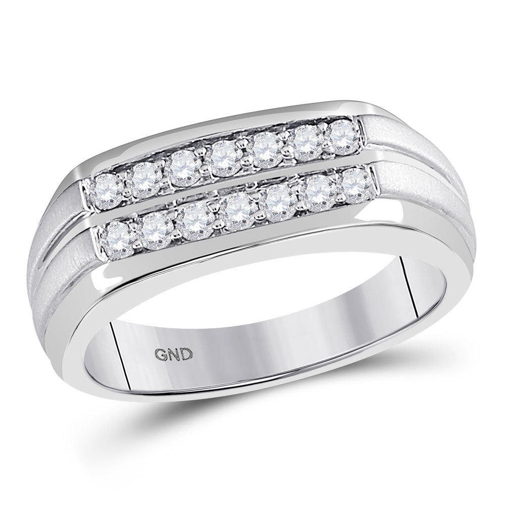 14kt White Gold Mens Round Diamond Double Row Wedding Band Ring .50ct