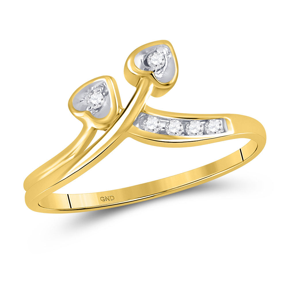10kt Yellow Gold Womens Round Diamond Double Heart Simple Band Ring 0.05ct