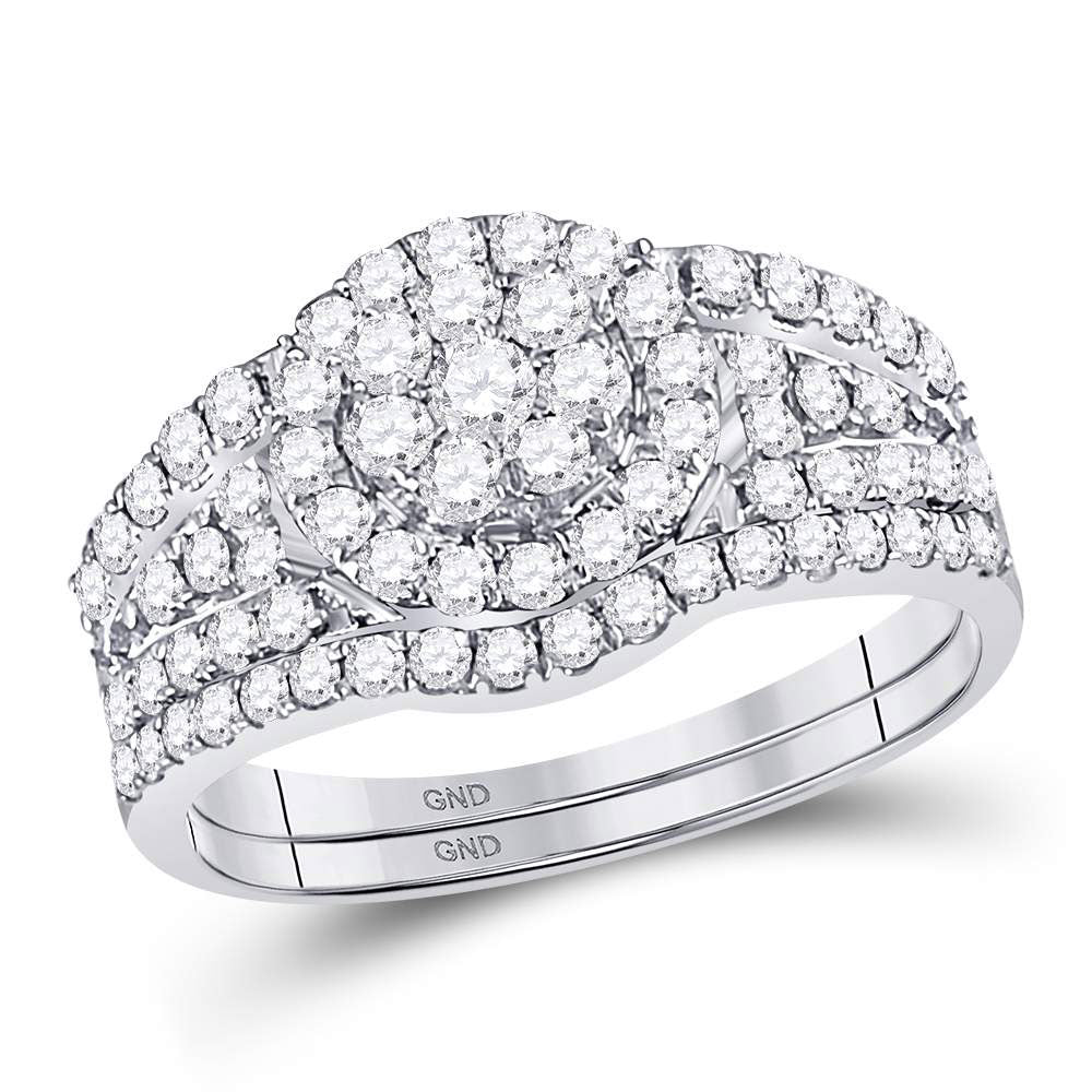 14kt White Gold Womens Round Diamond Flower Cluster Bridal Wedding Engagement Ring Band Set 1.00ct