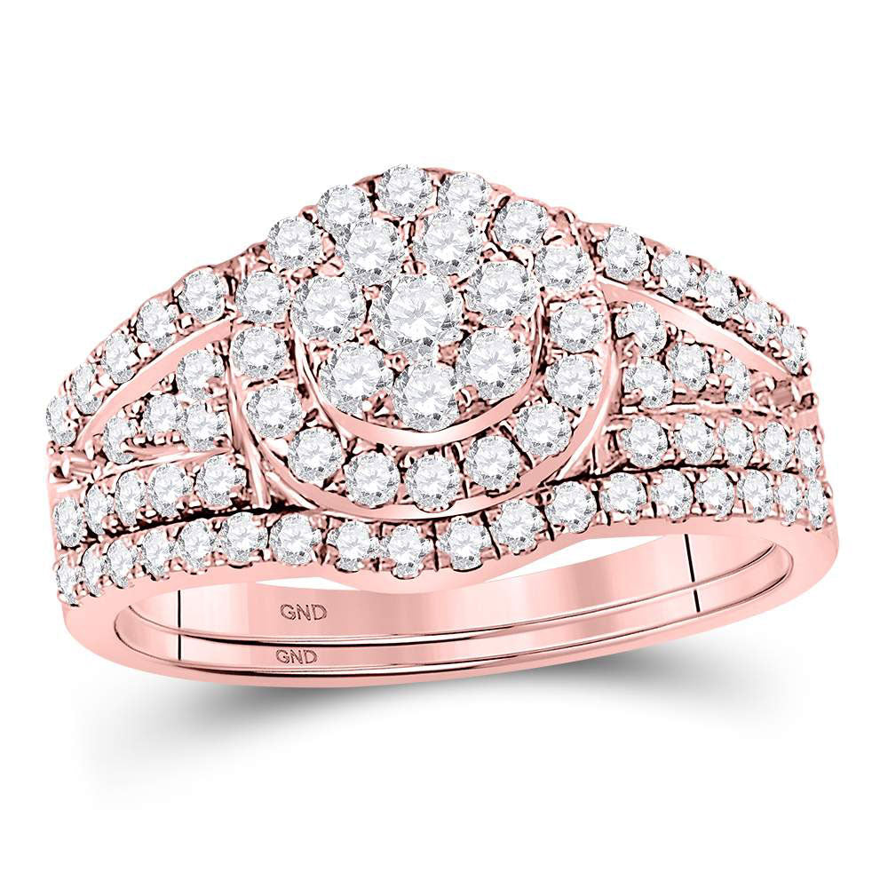 14kt Rose Gold Womens Round Diamond Cluster Bridal Wedding Engagement Ring Band Set 1.00ct