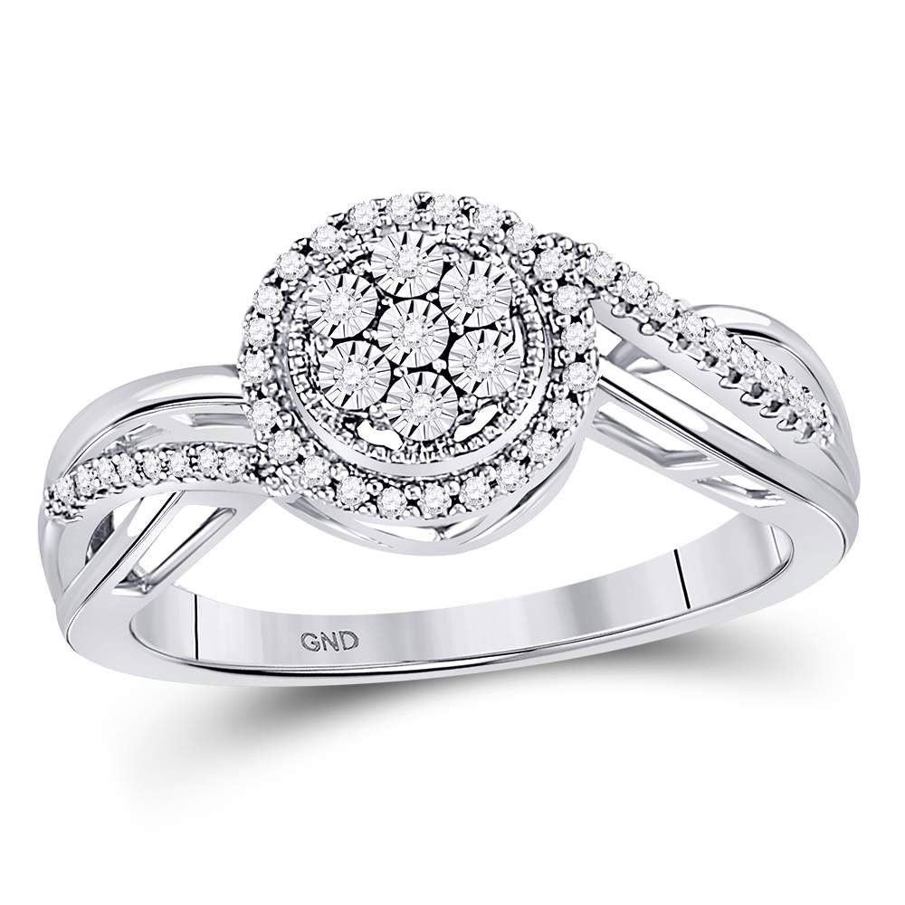 10kt White Gold Womens Round Diamond Flower Cluster Ring .17ct