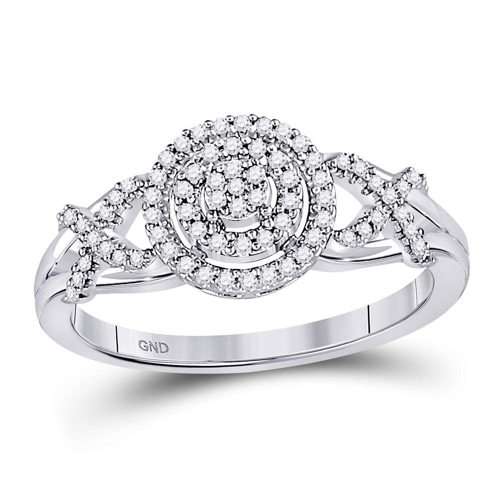 10kt White Gold Womens Round Diamond Cluster Split-shank XO Ring .15ct