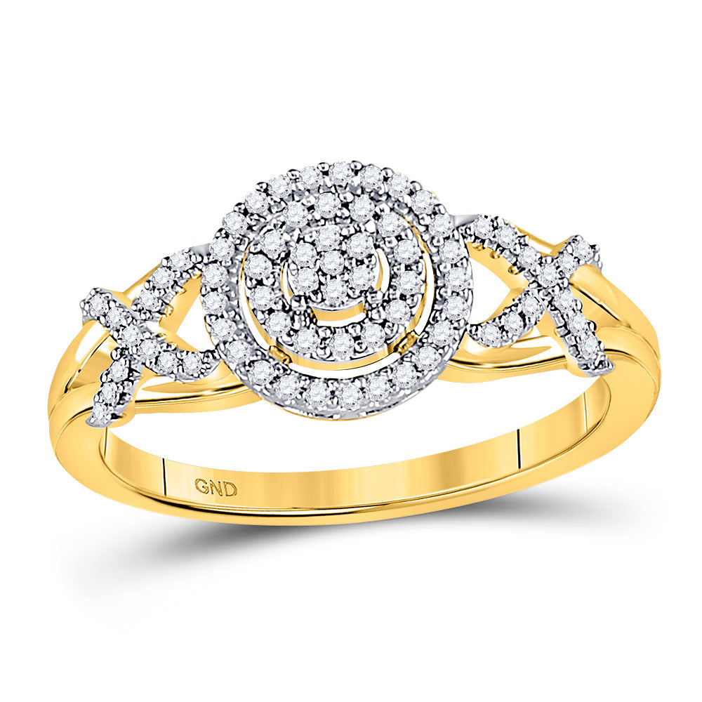 10kt Yellow Gold Womens Round Diamond Cluster Split-shank XO Ring .15ct