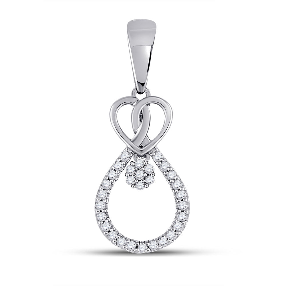 10kt White Gold Womens Round Diamond Heart Teardrop Cluster Pendant .10ct