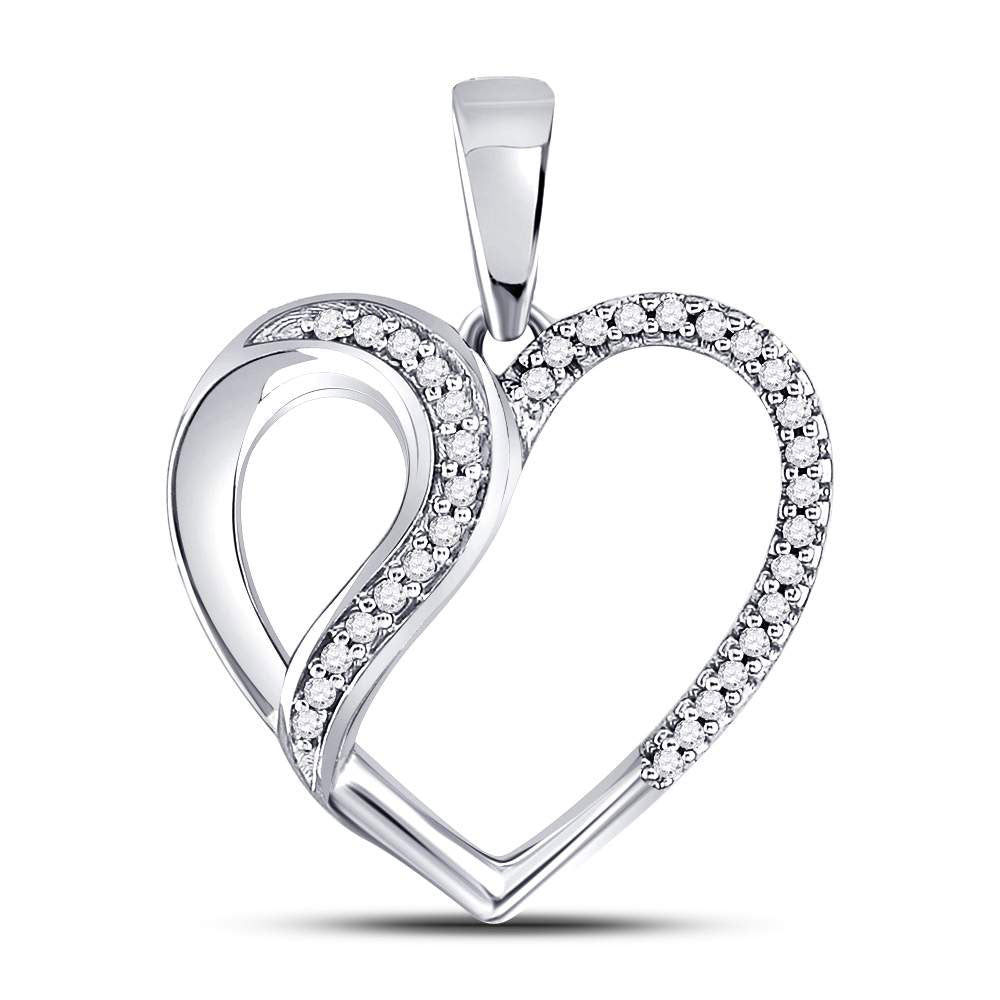 10kt White Gold Womens Round Diamond Heart Fashion Pendant .10ct