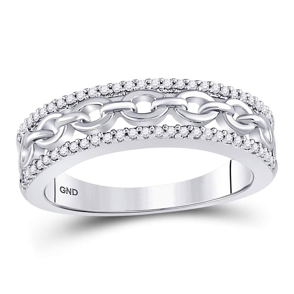 10kt White Gold Womens Round Diamond Chain Link Fashion Band Ring .17ct