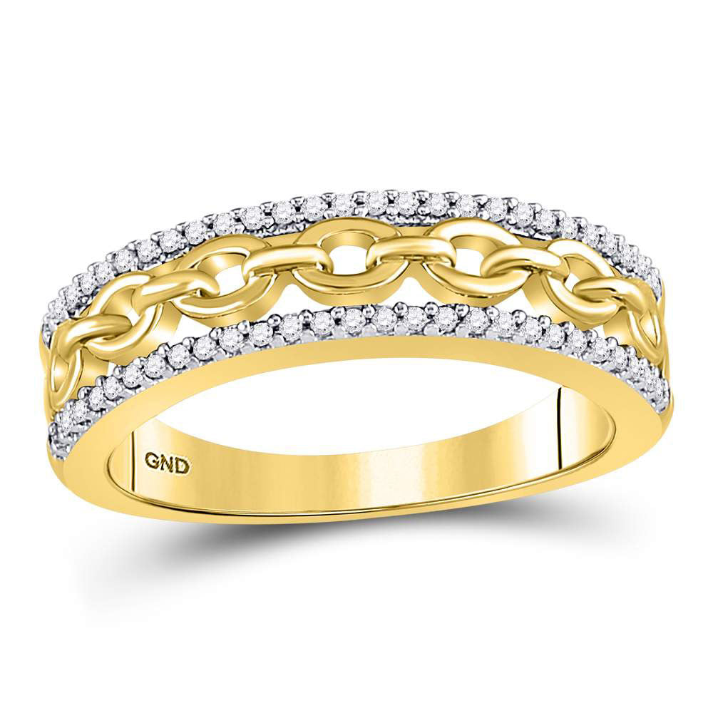10kt Yellow Gold Womens Round Diamond Chain Link Fashion Band Ring .17ct