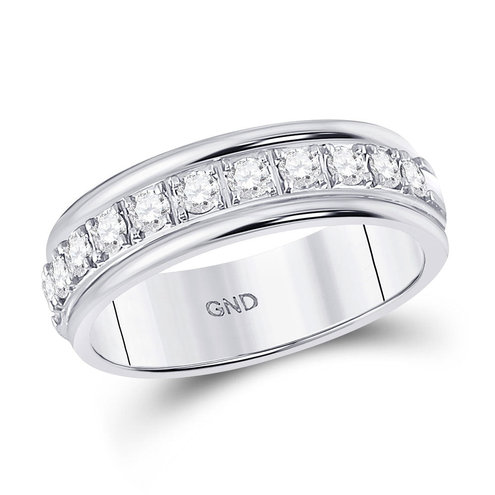 10kt White Gold Womens Round Diamond Single Row Band Ring .50ct