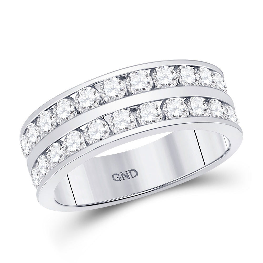 14kt White Gold Mens Round Diamond Double Row Wedding Band Ring 2.00ct