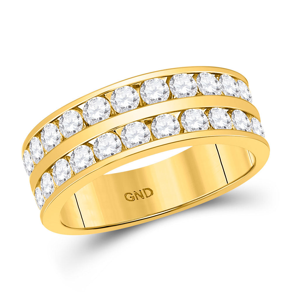 14kt Yellow Gold Mens Round Diamond Double Row Wedding Band Ring 2.00ct