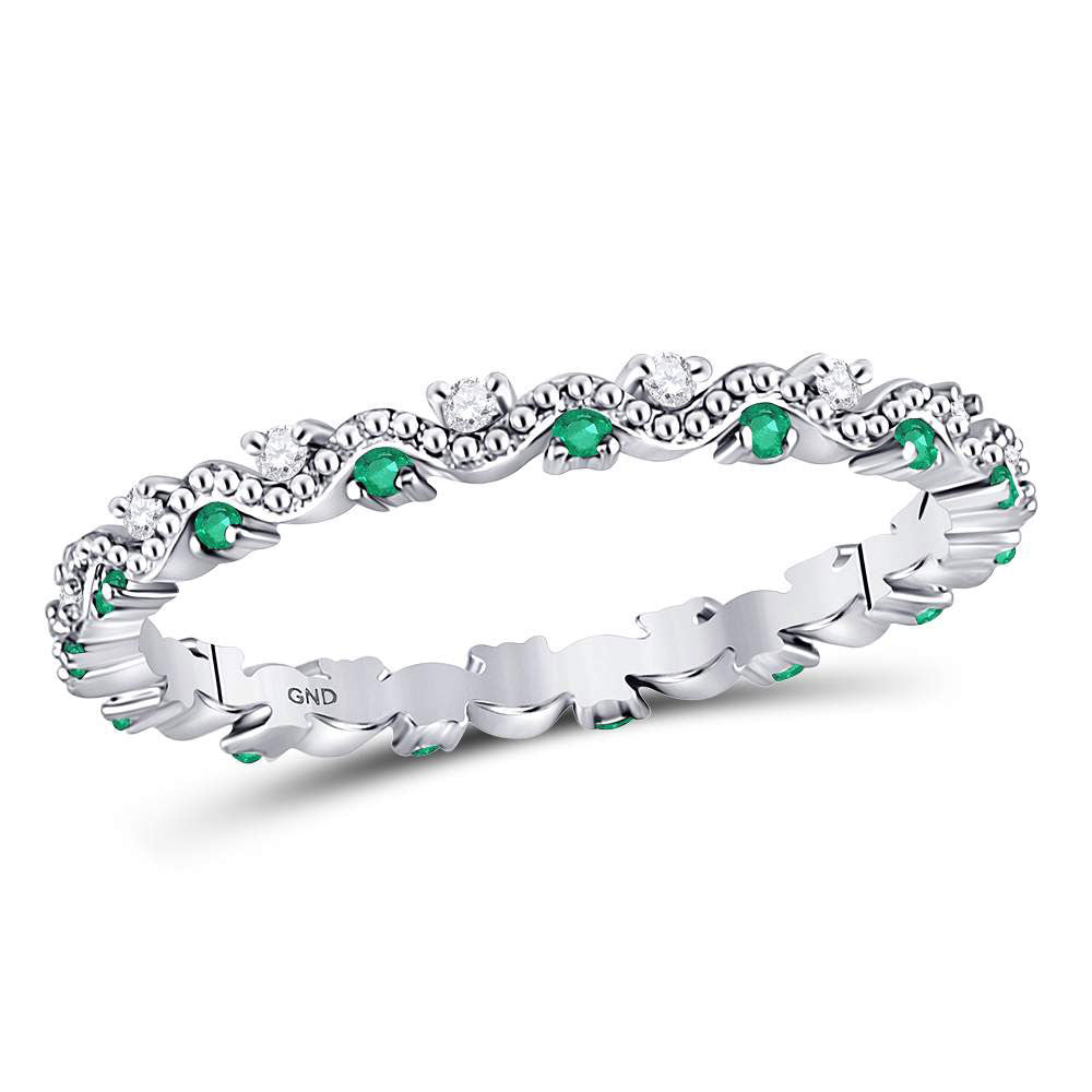10kt White Gold Womens Round Emerald Diamond Eternity Stackable Band Ring .25ct