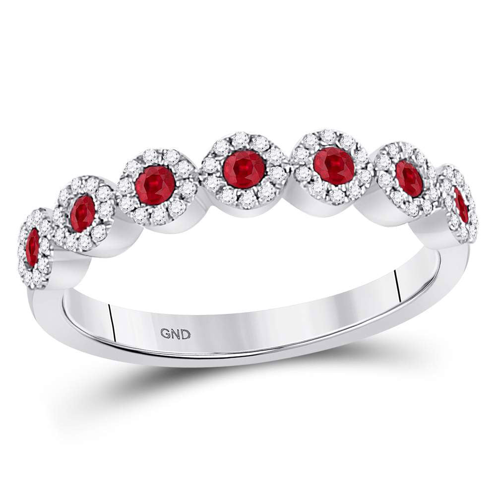 10kt White Gold Womens Round Ruby Circle Stackable Band Ring .50ct