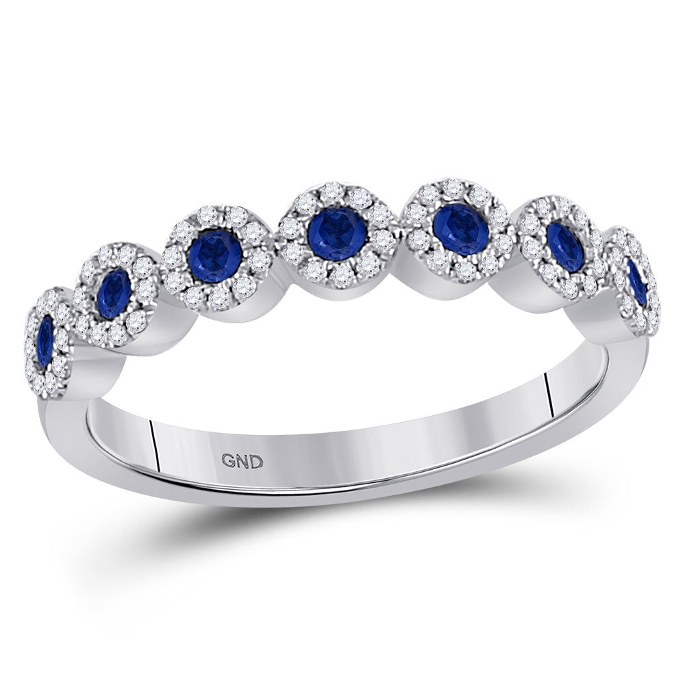 10kt White Gold Womens Round Blue Sapphire Stackable Band Ring .50ct