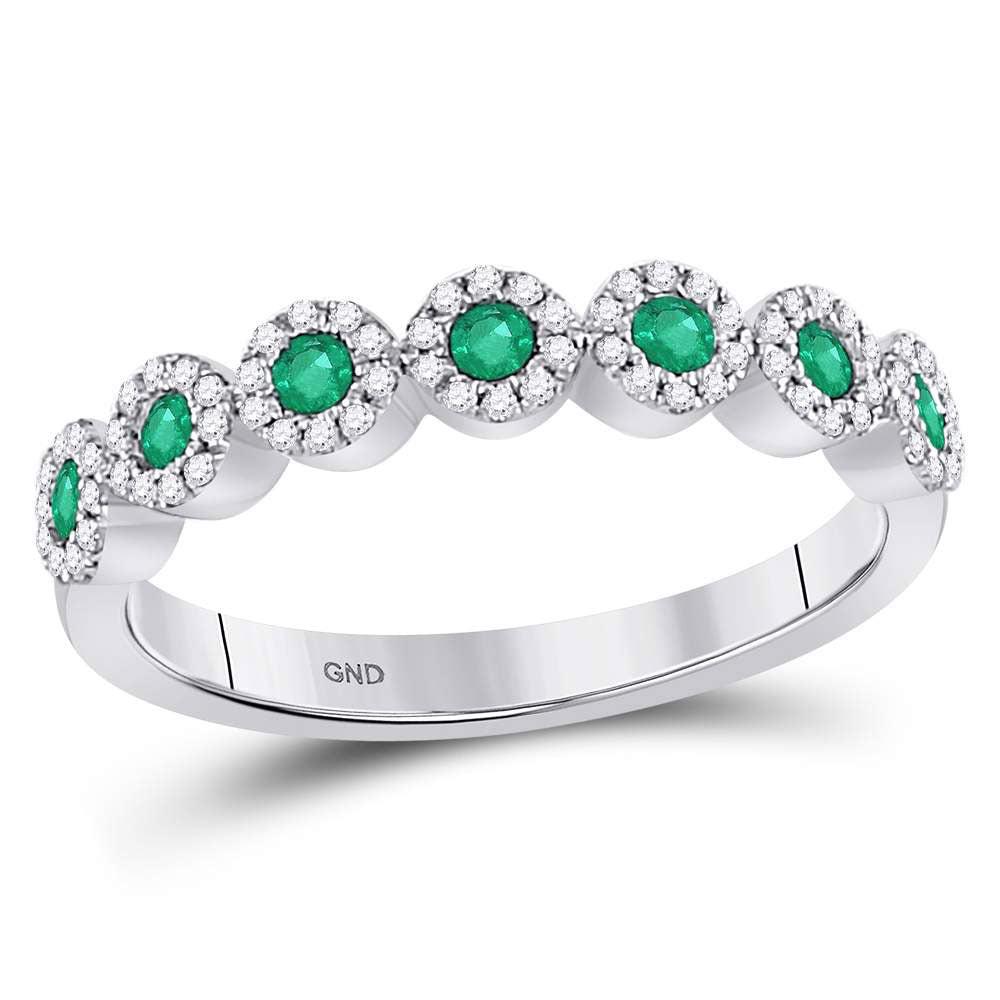 10kt White Gold Womens Round Emerald Circle Stackable Band Ring .50ct