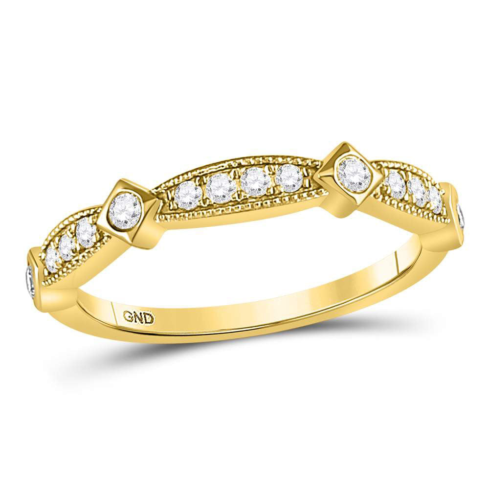 10kt Yellow Gold Womens Round Diamond Milgrain Pinched Band Ring .25ct