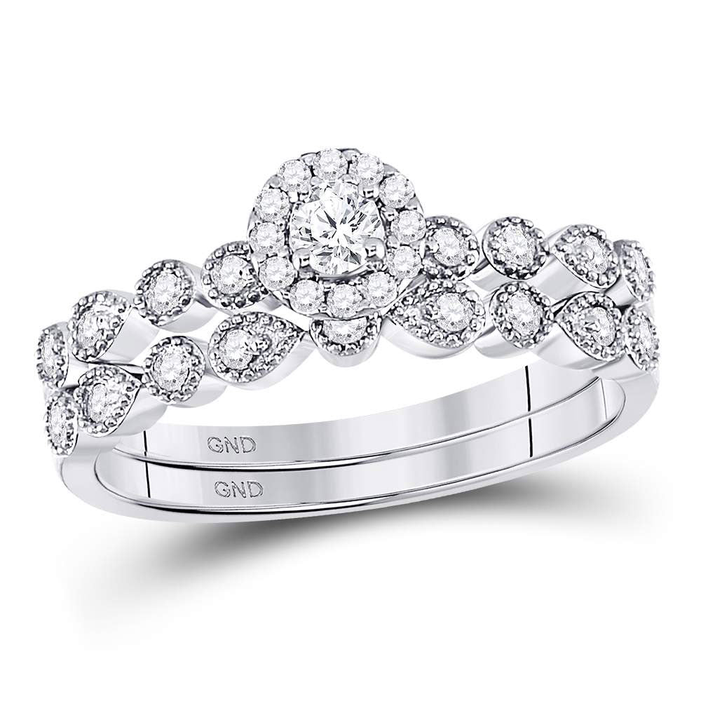 10kt White Gold Womens Round Diamond Stackable Bridal Wedding Engagement Ring Band Set .35ct