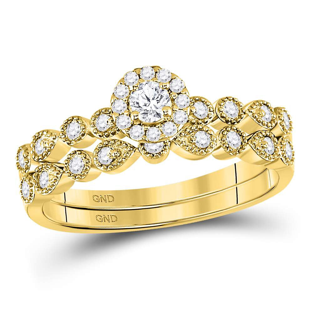 10kt Yellow Gold Womens Round Diamond Stackable Bridal Wedding Engagement Ring Band Set .35ct
