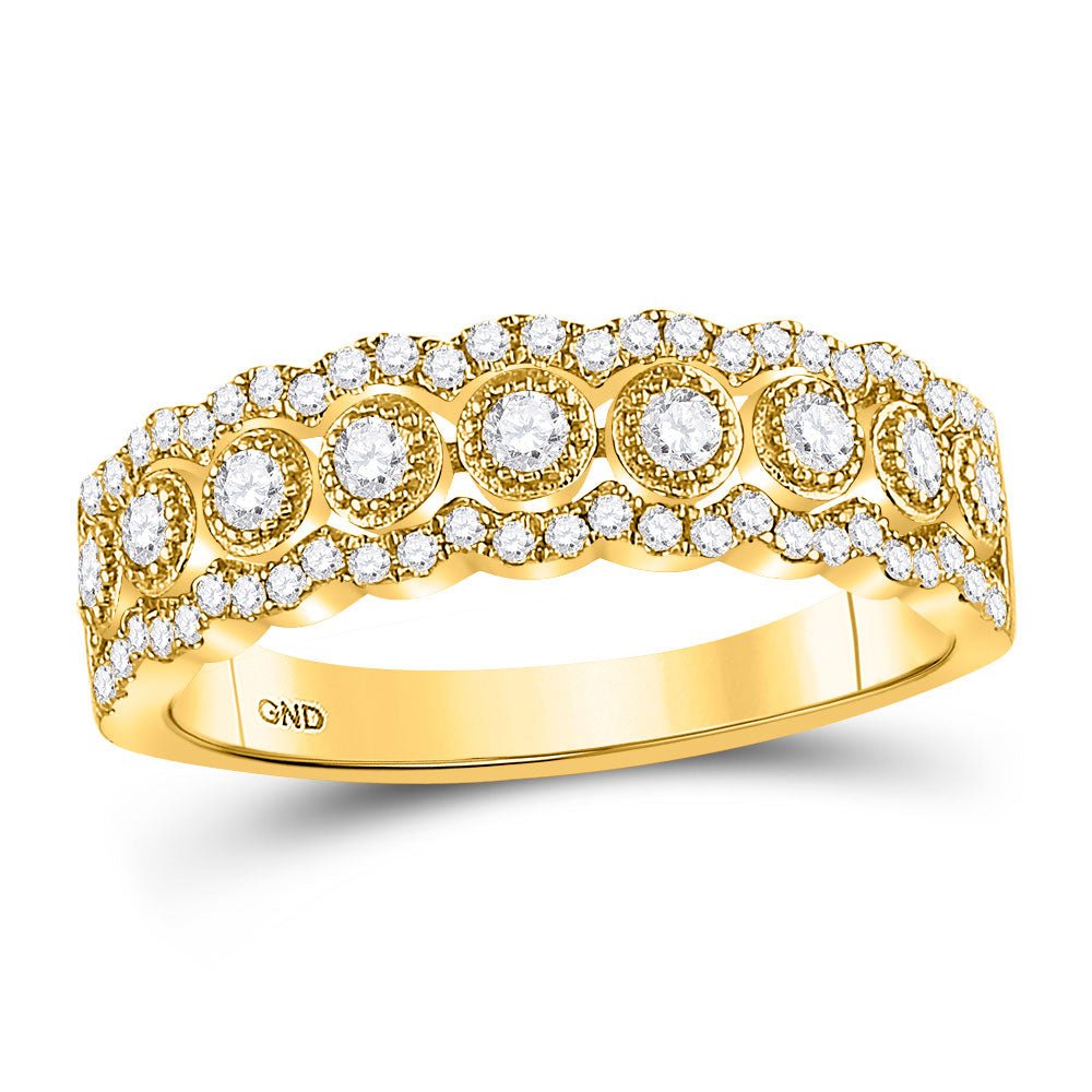 10kt Yellow Gold Womens Round Diamond Triple Row Vintage-inspired Band Ring .35ct