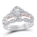 14kt Two-tone Gold Womens Round Diamond Bridal Wedding Engagement Ring Band Set .75ct