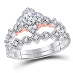 14kt Two-tone Gold Womens Round Diamond Bridal Wedding Engagement Ring Band Set .63ct