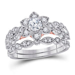 14kt Two-tone Gold Womens Round Diamond Flower Bridal Wedding Engagement Ring Band Set .75ct