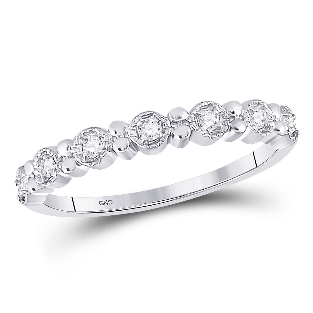 10kt White Gold Womens Round Diamond Stackable Band Ring .10ct