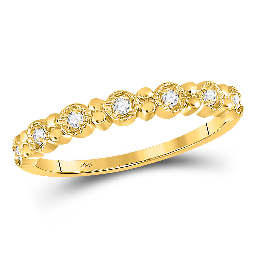 10kt Yellow Gold Womens Round Diamond Stackable Band Ring .10ct