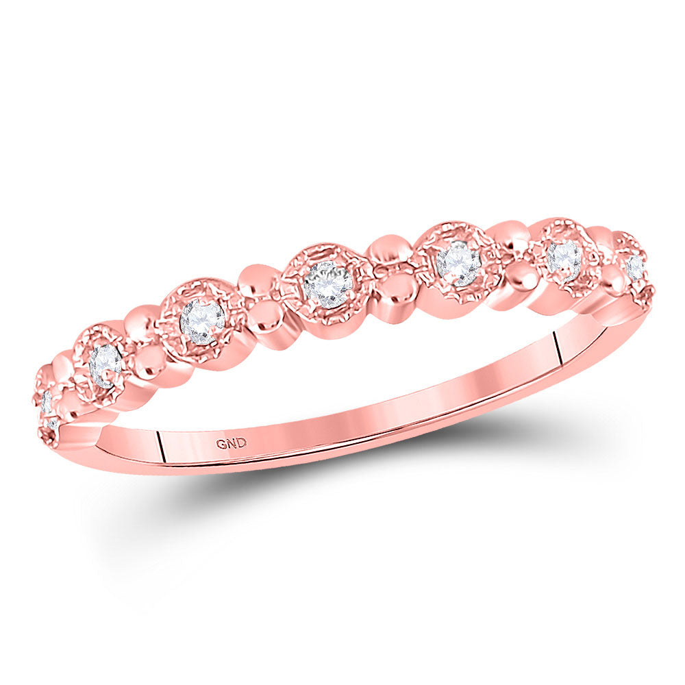 10kt Rose Gold Womens Round Diamond Stackable Band Ring .10ct