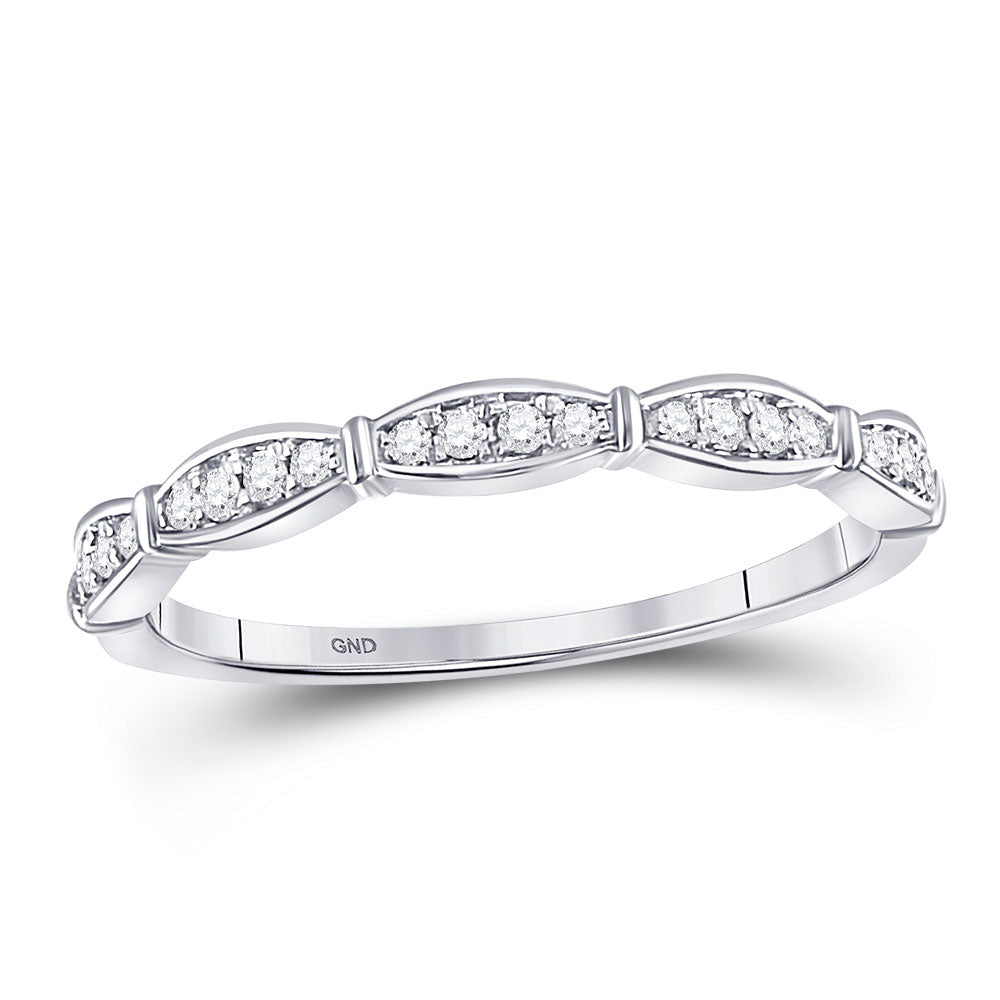 10kt White Gold Womens Round Diamond Stackable Band Ring .13ct