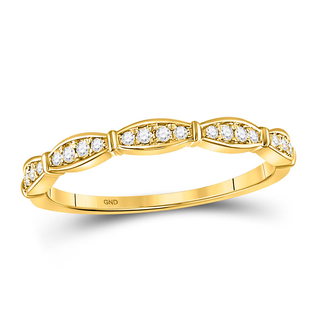 10kt Yellow Gold Womens Round Diamond Stackable Band Ring .13ct