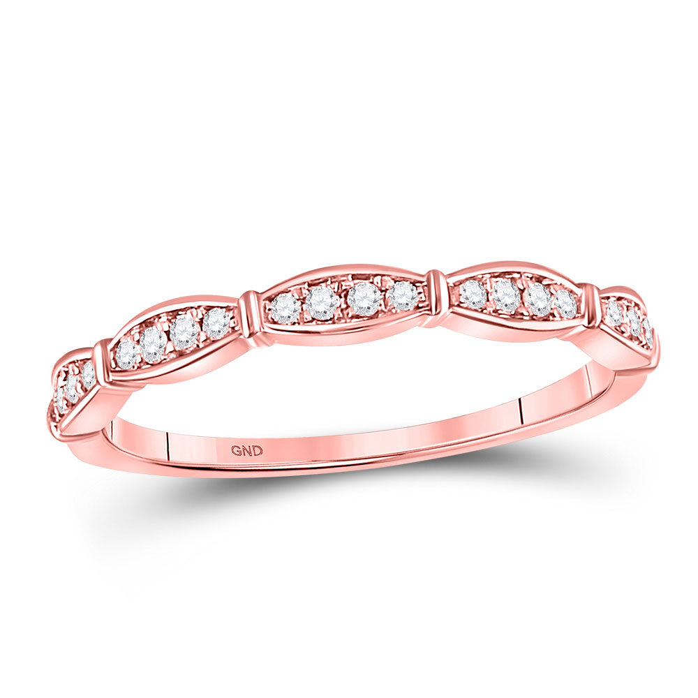 10kt Rose Gold Womens Round Diamond Stackable Band Ring .13ct