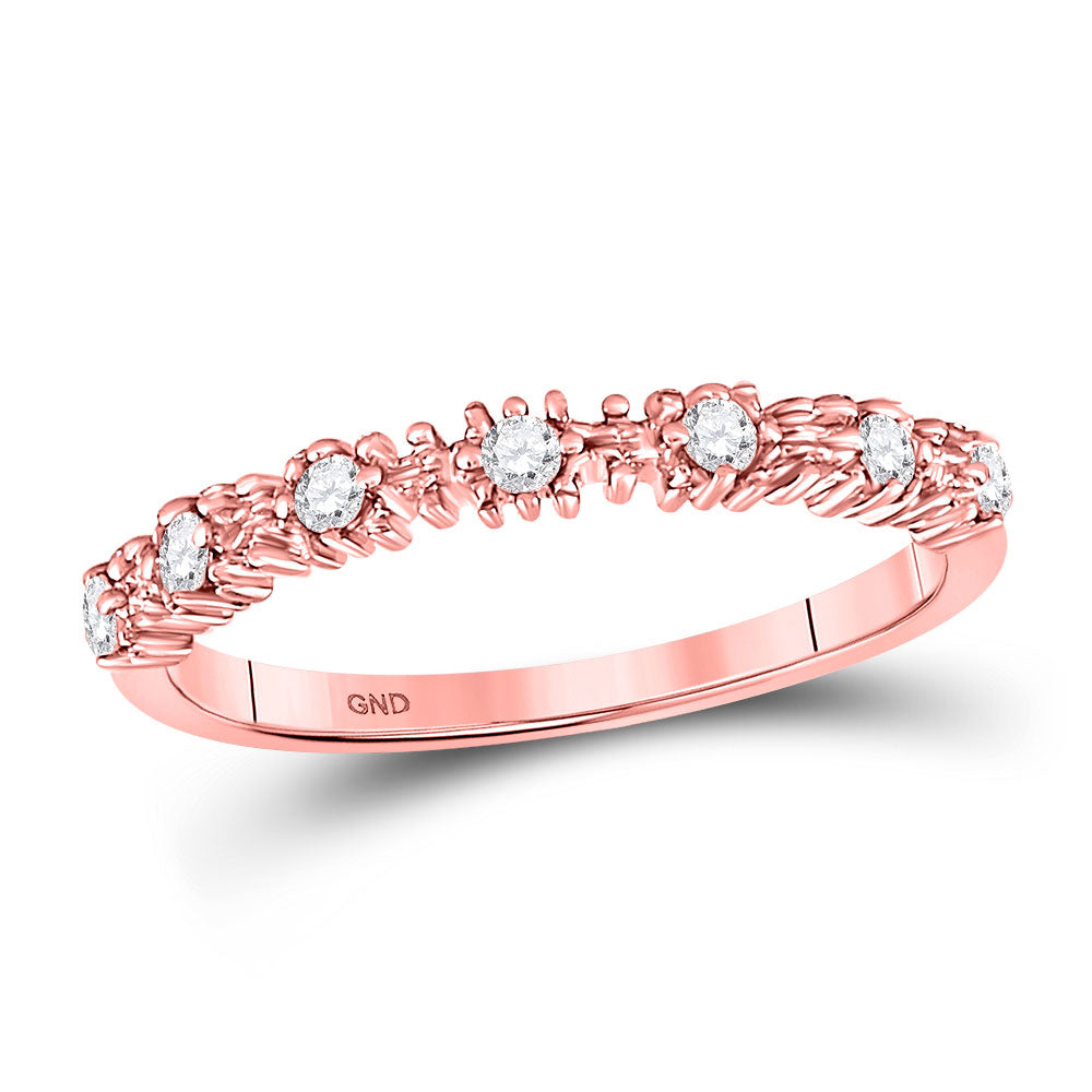 10kt Rose Gold Womens Round Diamond Stackable Band Ring .17ct