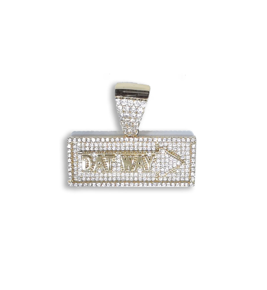 "Sterling Silver (18ct Yellow Gold Plated) ""Dat Way"" Pendant set with Cubic Zirconia***"