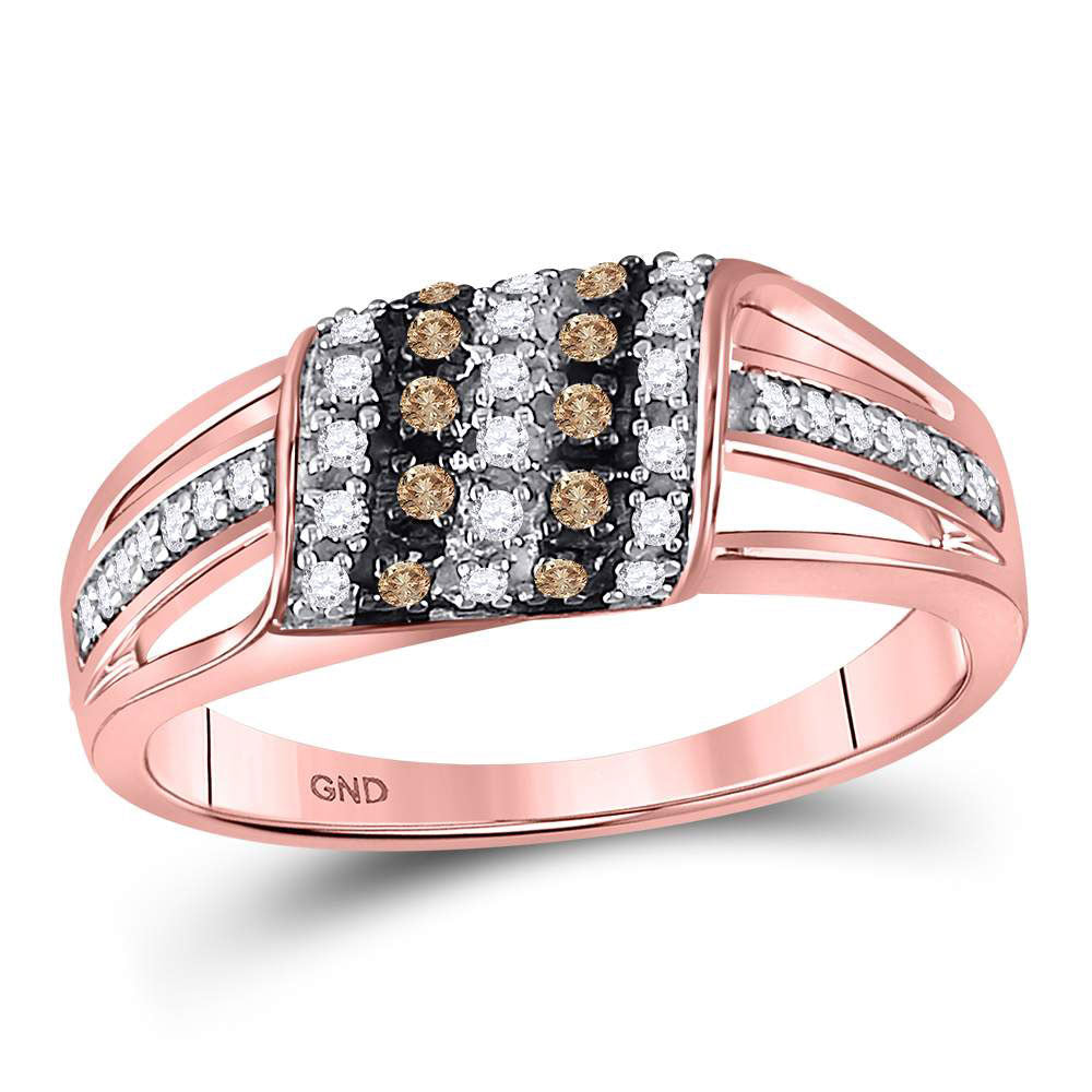 10kt Rose Gold Womens Round Brown Diamond Band Ring .35ct