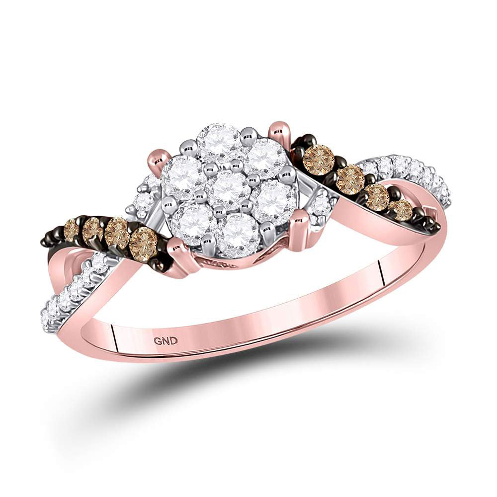 10kt Rose Gold Womens Round Brown Diamond Cluster Ring .50ct