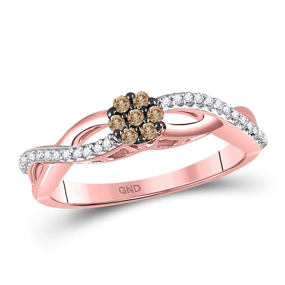 10kt Rose Gold Womens Round Brown Diamond Cluster Twist Ring .17ct