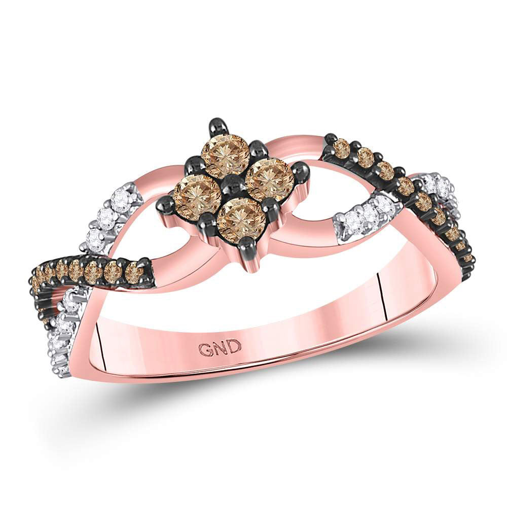 10kt Rose Gold Womens Round Brown Diamond Cluster Twist Ring .50ct