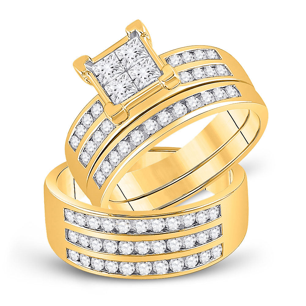 10kt Yellow Gold His Hers Princess Diamond Cluster Matching Bridal Wedding Ring Band Set 1.63ct