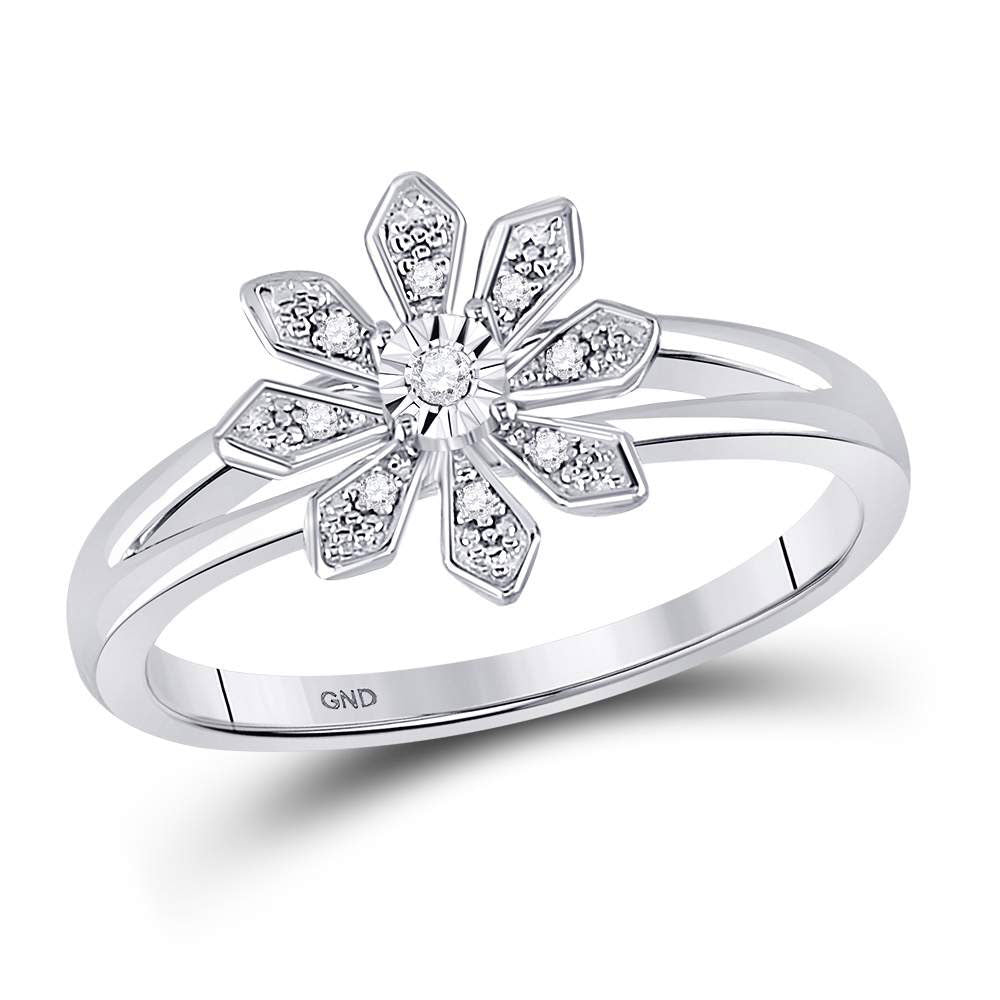 Sterling Silver Womens Round Diamond Flower Fashion Ring .50ct