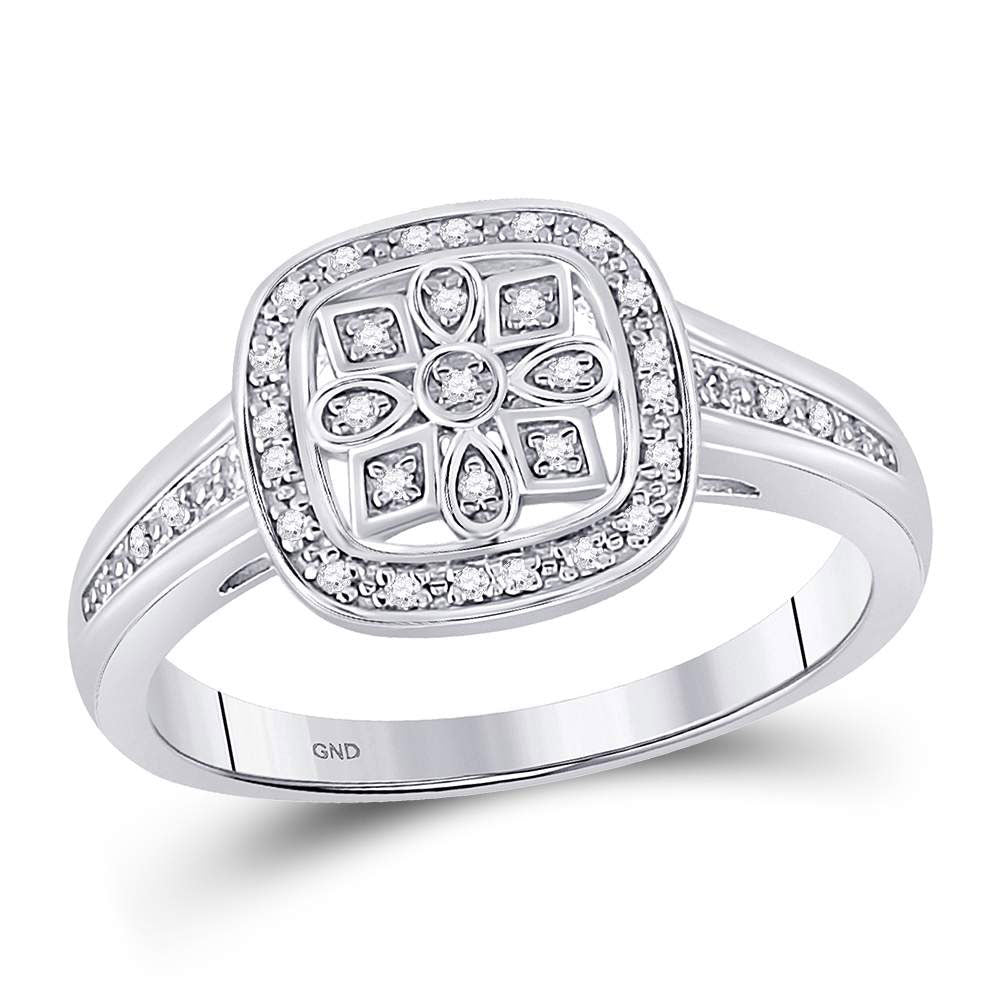 Sterling Silver Womens Round Diamond Square Frame Starburst Ring .10ct