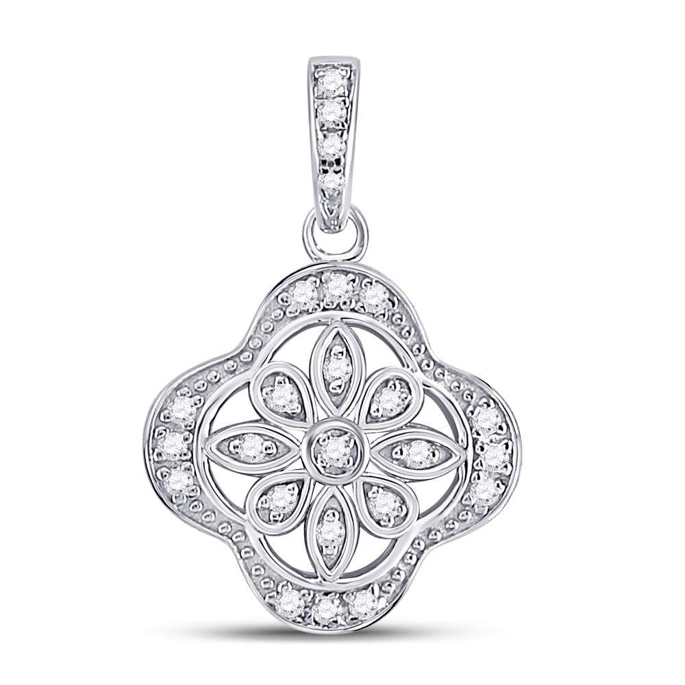 Sterling Silver Womens Round Diamond Starburst Fashion Pendant .10ct