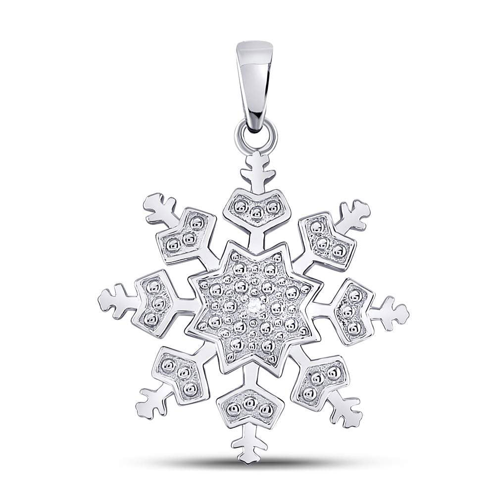 Sterling Silver Womens Round Diamond Snowflake Fashion Pendant .01ct